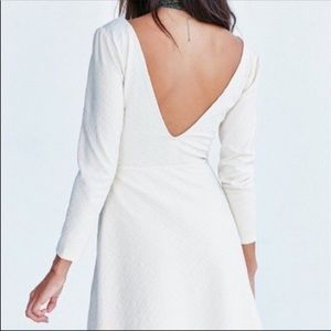 3/$30 Cooperative Deep V Textured Ivory Dress
